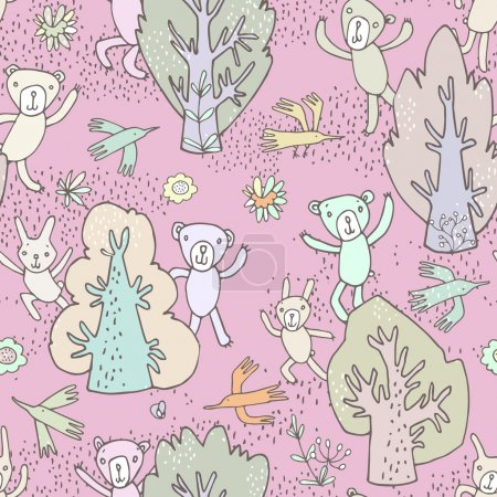 Cute cartoon forest animals, trees and birds.