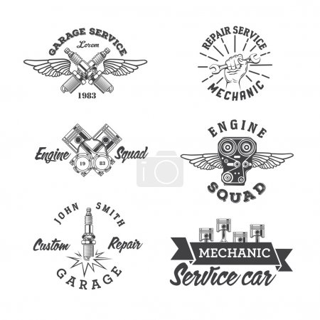 Illustration for Set of vintage auto service labels and design elements - Royalty Free Image