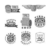 Set of tires shops and service emblems