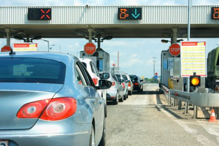 highway traffic jam on pay toll station