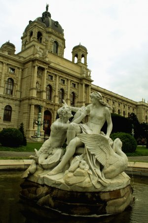 Fountain in Vienna Maria Theresa Square, Vienna, A...