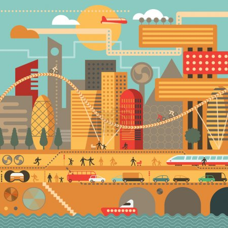 Illustration for Vector city illustration in flat style and in warm colors - houses, buildings, trees, street with walking people, cars, boat and train - Royalty Free Image