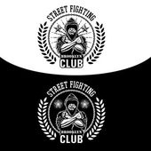 Vector illustration street fighting club emblem with fighter chain and wreath