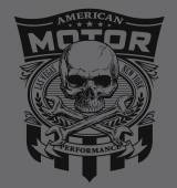 Motor skull shield t-shirt graphic