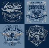 Vintage motorsport emblem t-shirt graphic set