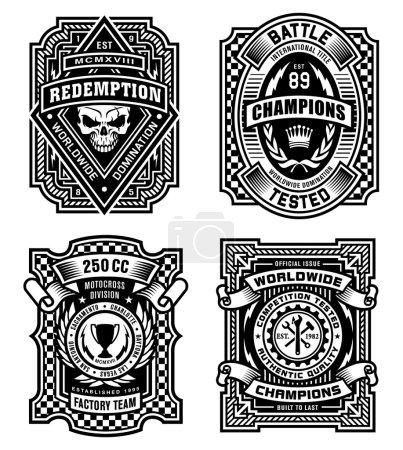 Ornate black and white emblem graphics set