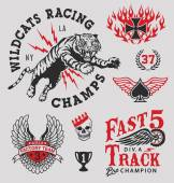 Vintage racing emblems graphics