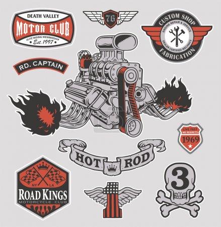 Retro hot rod racing engine motor set