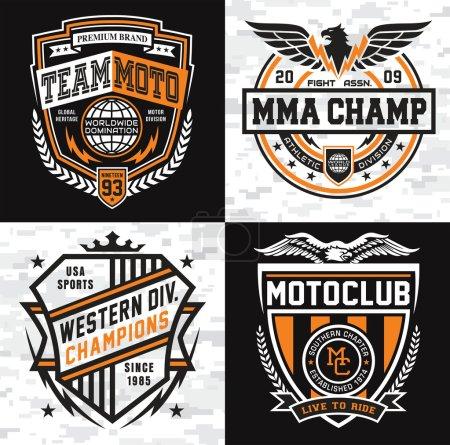 Sports insignia emblem set