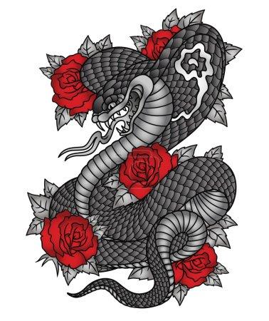 Illustration pour Illustration de tatouage d'un cobra avec des roses . - image libre de droit