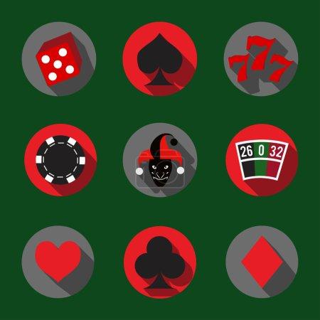 Illustration pour Jeu d'icônes flash Casino - image libre de droit