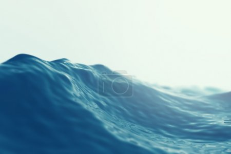 Sea, ocean wave close up with focus effects. 3d illustration