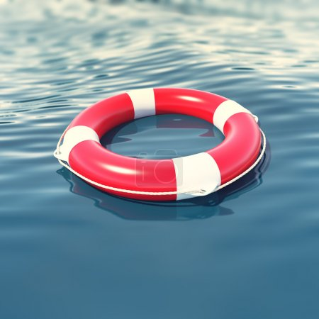 Red lifebuoy in blue sea with depth of field effect. 3d illustration