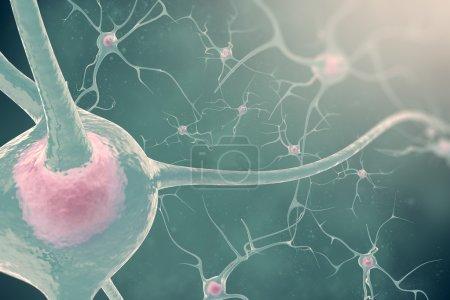 Photo pour Les neurones du système nerveux avec l'effet flou et lumière illustration 3D cellules nerveuses - image libre de droit