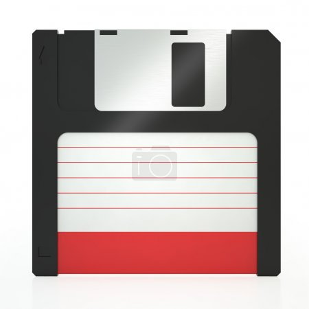 Old floppy disk on a white background