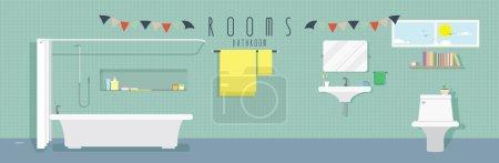 Illustration pour Illustration vectorielle d'une salle de bain. - image libre de droit