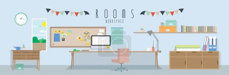 Illustration for Vector illustration of a workspace. - Royalty Free Image
