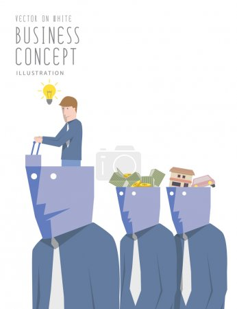 Leader with ideas control his the man with a passion flat vector