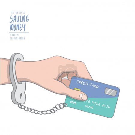 A hand handcuffed tethered to a credit card. Drawing paint flat