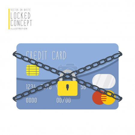 Credit card are bound with chains and locked with a padlock flat