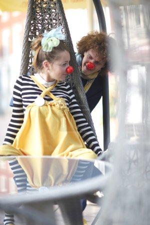 Photo for Joyful street clowns performance - Royalty Free Image