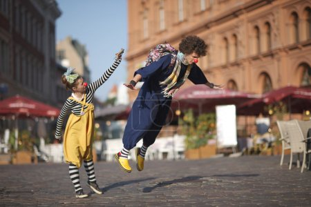 Clowns learning to fly