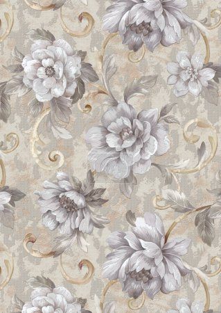 Photo for Flowers, fabric with seamless floral pattern - Royalty Free Image