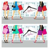 Spring and summer sales The colorful vector illustration of women with shopping bags against the backdrop of the city