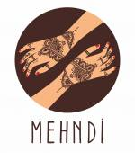Element yoga mudra hands with mehendi patterns Vector illustration for a yoga studio tattoo spas postcards souvenirs Indian traditional lifestyle