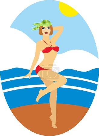 Fille en maillot de bain - Illustration de stock