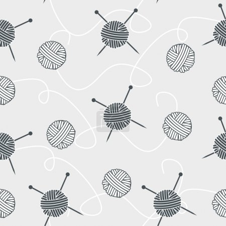 Seamless background balls of yarn and knitting needles