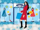 Shopping girl - Stock Illustration fashionable girl with purchases for your design