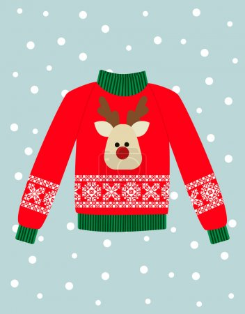 Stock Vector Illustration: illustration of a red Christmas sweater with deer.