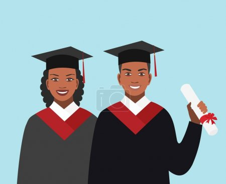 Illustration for Girl and boy African-American appearance graduates in gowns - Royalty Free Image