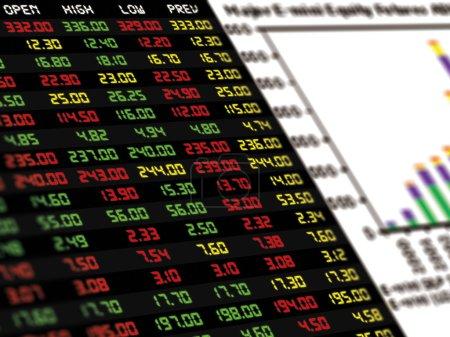 Photo pour Affichage du cours boursier quotidien et cotation avec un graphique à barres de l'instrument financier - image libre de droit