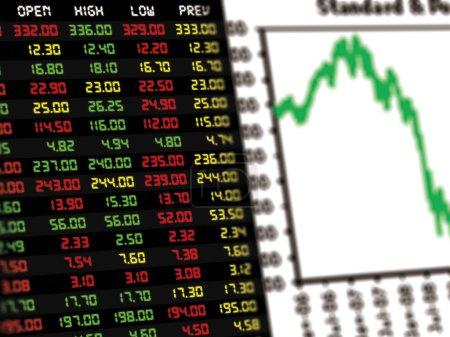Photo pour Affichage du cours boursier quotidien et de la cotation avec un graphique linéaire des instruments financiers - image libre de droit