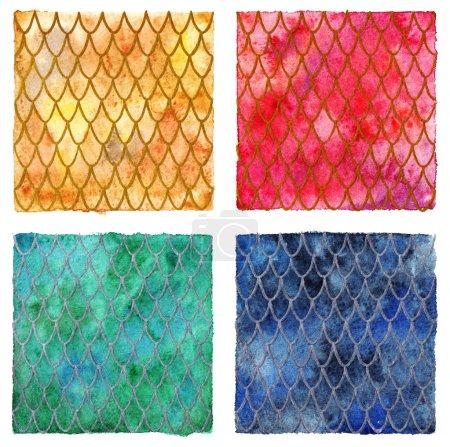Drachenhaut Skalen Muster Textur Hintergrund vier Farben eingestellt