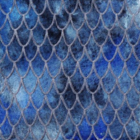 Drachenhaut Schuppen blau Saphir Silber Muster Textur Hintergrund