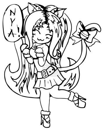 Monochrome cat girl anime manga kawaii cartoon vector isolated