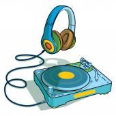 Sluchátka a škrábání záznamu na gramofon