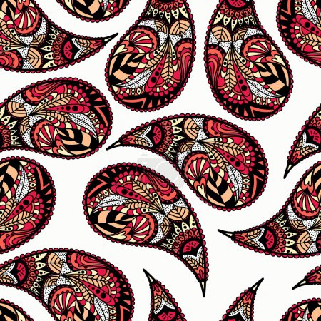 Illustration for Turkish cucumbers. Seamless ornament for fabrics, wallpaper, background, web backdrop. Ethnic motifs. Vector illustration. - Royalty Free Image
