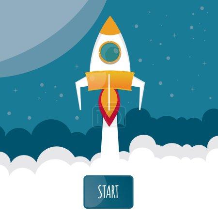 Modern vector illustration of rocket. Start up
