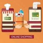 Modern vector illustration of online shopping, online food delivery