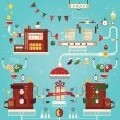 Vector illustration of christmas gifts factory