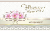 Greeting card for birthday with flowers on the background of the ornament