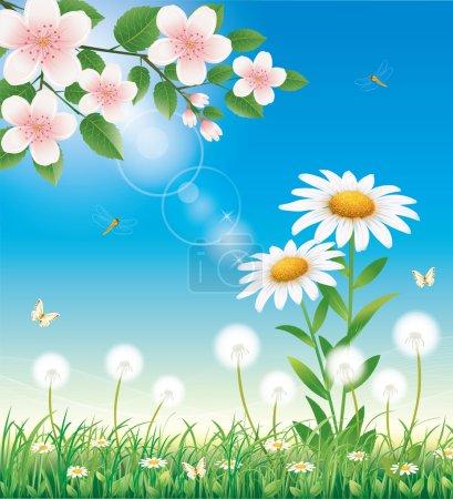 Illustration pour Belle prairie florale printanière - image libre de droit