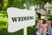 Signpost to the wedding ceremony