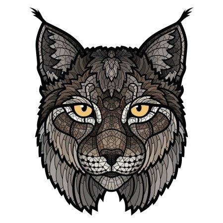 Illustration pour Mascotte de lynx sauvage. Illustration vectorielle isolée idéale pour un T-shirt graphique - image libre de droit