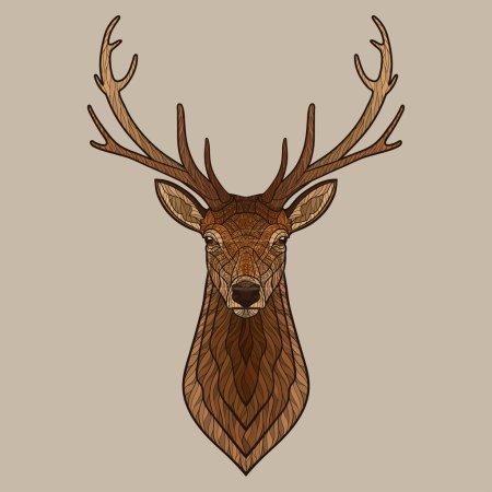 Illustration pour Tête de cerf. Illustration vectorielle isolée décorative. Pas de gradients - image libre de droit