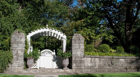 Garden Gate with Stone Wall